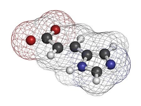 Urocanic acid molecule. Breakdown product of histidine. 3D rendering. Atoms are represented as spheres with conventional color coding: hydrogen (white), carbon (grey), oxygen (red), nitrogen (blue).