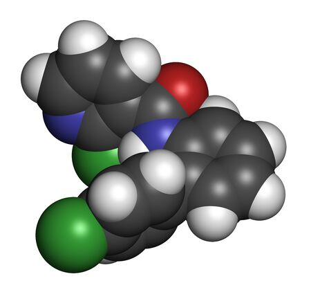 Boscalid fungicide molecule. 3D rendering. Atoms are represented as spheres with conventional color coding: hydrogen (white), carbon (grey), oxygen (red), nitrogen (blue), chlorine (green).