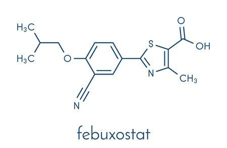 Febuxostat gout drug molecule (xanthine oxidase inhibitor). Skeletal formula.