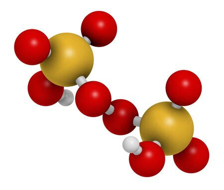 Peroxydisulfuric acid oxidizing agent molecule. 3D rendering. Atoms are represented as spheres with conventional color coding: hydrogen (white), carbon (grey), oxygen (red), sulfur (yellow).