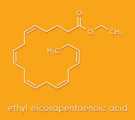 Icosapent ethyl (ethyl eicosapentaenoic acid) drug molecule. Skeletal formula.