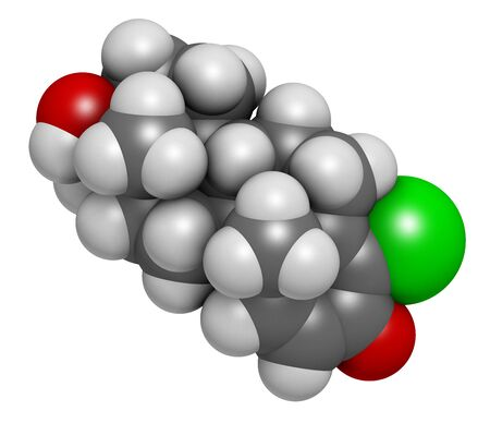 Chlorodehydromethyltestosterone (CDMT) androgenic and anabolic steroid molecule, used in sports doping. 3D rendering. Atoms are represented as spheres with conventional color coding: hydrogen (white), carbon (grey), oxygen (red), chlorine (green).