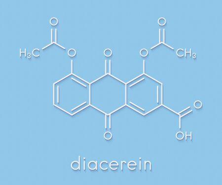 Diacerein drug molecule. Skeletal formula.