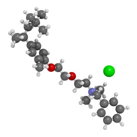 Methylbenzethonium chloride antiseptic molecule. 3D rendering. Atoms are represented as spheres with conventional color coding: hydrogen (white), carbon (grey), oxygen (red), nitrogen (blue), chlorine (green). Banque d'images