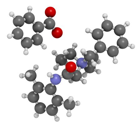 Denatonium benzoate bittering agent. 3D rendering. Atoms are represented as spheres with conventional color coding: hydrogen (white), carbon (grey), oxygen (red), nitrogen (blue).