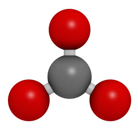 Carbonate anion, chemical structure. 3D rendering. Atoms are represented as spheres with conventional color coding: carbon (grey), oxygen (red).