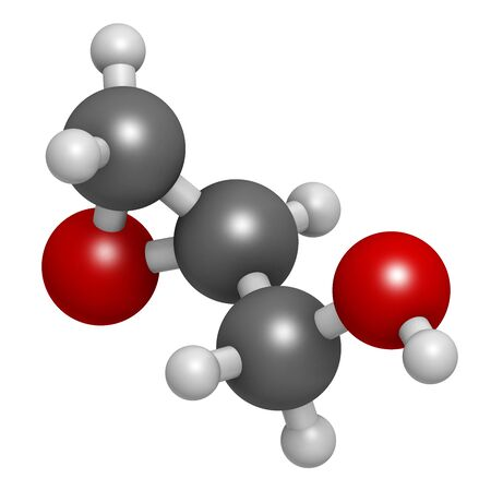 Glycidol molecule. 3D rendering. Atoms are represented as spheres with conventional color coding: hydrogen (white), carbon (grey), oxygen (red).