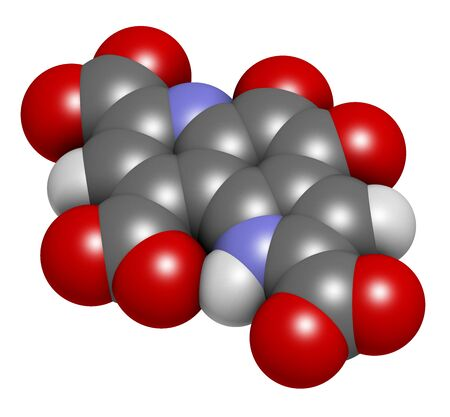 Pyrroloquinoline quinone (PQQ) redox cofactor molecule. 3D rendering. Atoms are represented as spheres with conventional color coding: hydrogen (white), carbon (grey), oxygen (red), nitrogen (blue).