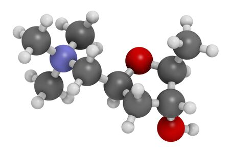 Muscarine mushroom toxin molecule. Agonist of the muscarinic acetylcholine receptors. 3D rendering. Atoms are represented as spheres with conventional color coding: hydrogen (white), carbon (grey), oxygen (red), nitrogen (blue).