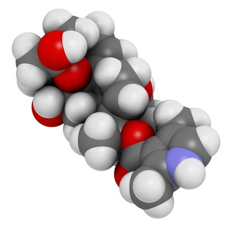 Batrachotoxin (BTX) neurotoxin molecule. Found in number of animals, including poison dart frogs. 3D rendering. Atoms are represented as spheres with conventional color coding: hydrogen (white), carbon (grey), oxygen (red), nitrogen (blue).