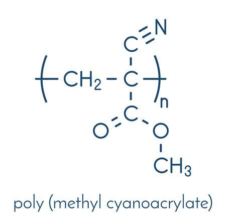 Poly(methyl cyanoacrylate) polymer, chemical structure. Polymerized (set) form of methyl cyanoacrylate instant glue. Skeletal formula.