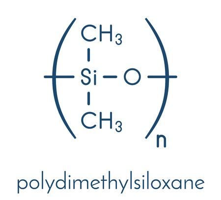 Silicone oil (polydimethylsiloxane, PDMS) silicone polymer, chemical structure. Silicone oil and closely related substances are used in silicone caulk, silicone rubber, silicone grease, etc. Skeletal formula.