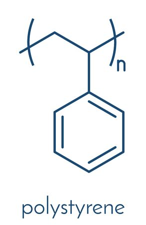 Polystyrene (PS) plastic, chemical structure. Used in insulation materials, toys, packaging, food containers, etc. Skeletal formula.