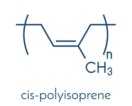 Natural rubber (cis-1,4-polyisoprene), chemical structure. Used to manufacture surgeons' gloves, condoms, boots, car tires, etc. Skeletal formula. 矢量图像