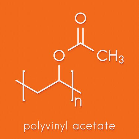 Polyvinyl acetate (PVA) polymer, chemical structure. Main component of wood glue or carpenter's glue. Skeletal formula.