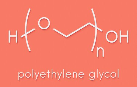 Polyethylene glycol (PEG), chemical structure. Forms of PEG are used as laxatives, excipients, etc. Skeletal formula. Banco de Imagens