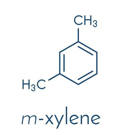 Meta-xylene (m-xylene) aromatic hydrocarbon molecule. Skeletal formula.  イラスト・ベクター素材