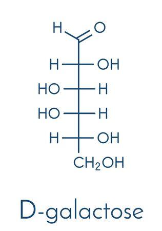 Galactose sugar molecule. Present in milk and dairy products. Skeletal formula.