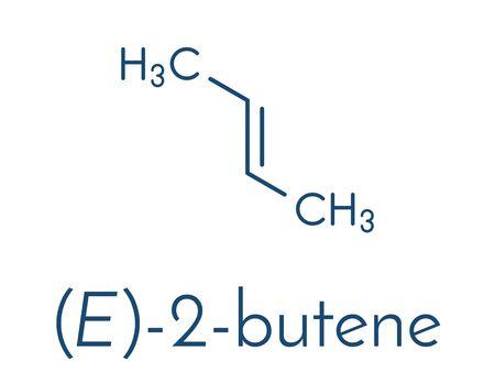 2-butene (trans, E-form) molecule. Common petrochemical. Skeletal formula.