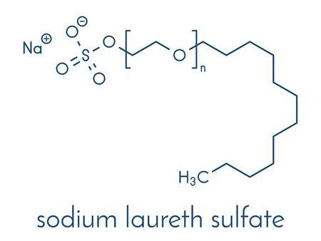 Sodium laureth sulphate detergent molecule. Used in cosmetics, soaps, shampoos, etc. Skeletal formula. Ilustração