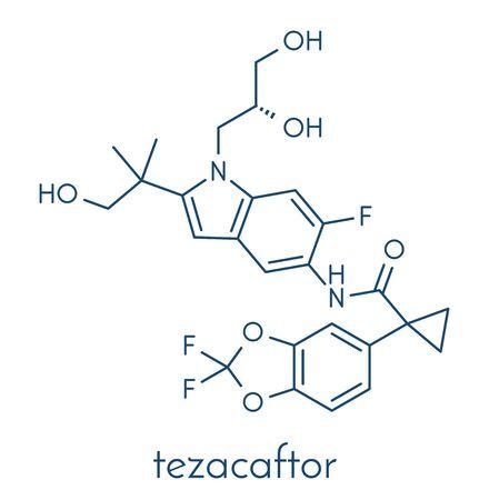 Tezacaftor cystic fibrosis drug molecule. Skeletal formula.