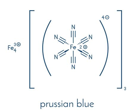 Prussian blue (Potassium ferric hexacyano-ferrate) molecular structure. Used as paint pigment and as heavy metalantidote in medicine. Skeletal formula.