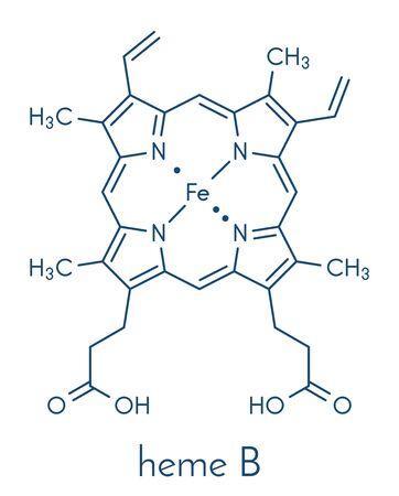 Heme B (haem B) molecule. Heme is an essential component of hemoglobin, myoglobin, cytochrome, catalase and other metalloproteins. Skeletal formula. Stock Illustratie