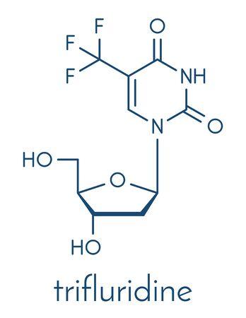 Trifluridine (trifluorothymidine, TFT) antiviral drug molecule. Skeletal formula. Ilustração