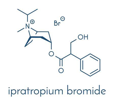 Ipratropium bromide asthma and COPD drug molecule. Often administered via inhaler. Skeletal formula.