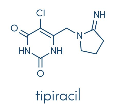 Tipiracil cancer drug molecule (thymidine phosphorylase inhibitor). Skeletal formula. Stock Illustratie