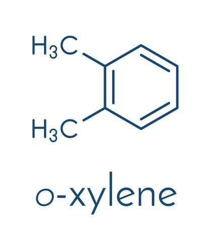 Ortho-xylene (o-xylene) aromatic hydrocarbon molecule. Skeletal formula.  イラスト・ベクター素材