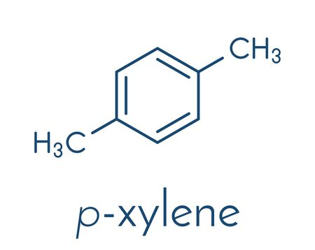 Para-xylene (p-xylene) aromatic hydrocarbon molecule. Skeletal formula.  イラスト・ベクター素材