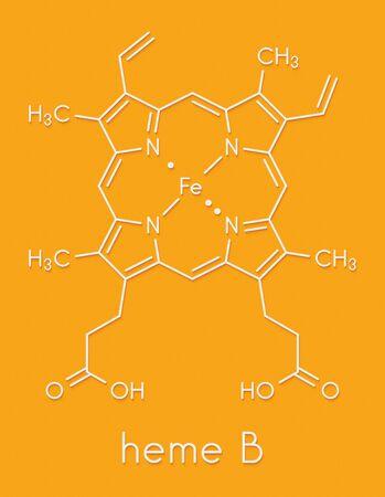 Heme B (haem B) molecule. Heme is an essential component of hemoglobin, myoglobin, cytochrome, catalase and other metalloproteins. Skeletal formula. Stockfoto