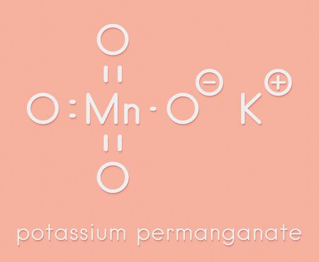 Potassium permanganate (KMnO4). Used as disinfectant solution. Skeletal formula.