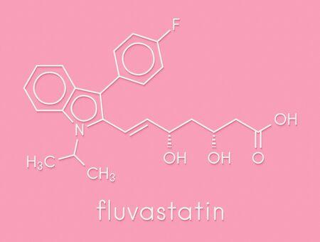 Fluvastatin hypercholesterolemia drug molecule. Skeletal formula.
