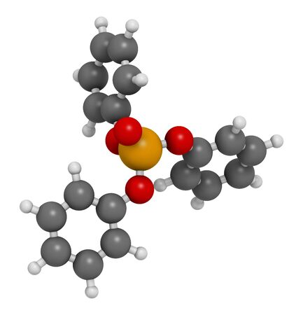 Triphenyl phosphate molecule. Used as flame retardant and plasticizer. 3D rendering. Atoms are represented as spheres with conventional color coding: hydrogen (white), carbon (grey), oxygen (red), phosphorus (orange).
