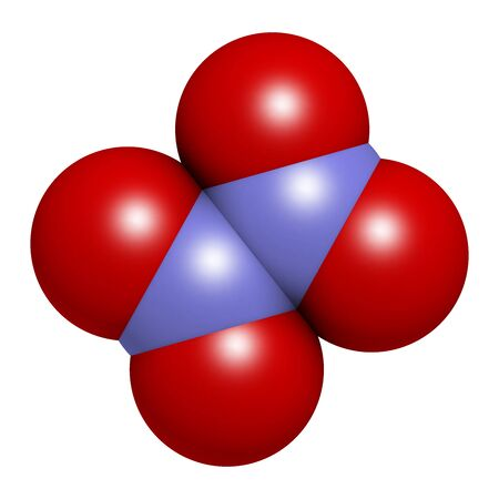 Nitrogen tetroxide (dinitrogen tetroxide, N2O4) rocket propellant molecule. 3D rendering. Atoms are represented as spheres with conventional color coding: nitrogen (blue), oxygen (red).
