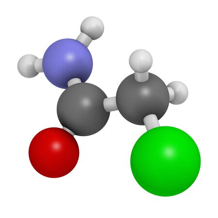 Chloroacetamide preservative molecule. 3D rendering. Atoms are represented as spheres with conventional color coding: hydrogen (white), carbon (grey), oxygen (red), nitrogen (blue), chlorine (green). Banque d'images