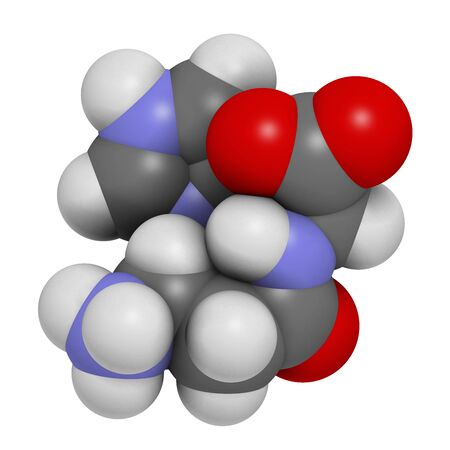 Carnosine (L-carnosine) food supplement molecule. 3D rendering. Atoms are represented as spheres with conventional color coding: hydrogen (white), carbon (grey), oxygen (red), nitrogen (blue). Zdjęcie Seryjne