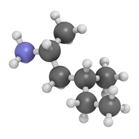 Methylhexanamine (dimethylamylamine, DMAA) stimulant molecule. 3D rendering. Atoms are represented as spheres with conventional color coding: hydrogen (white), carbon (grey), nitrogen (blue).