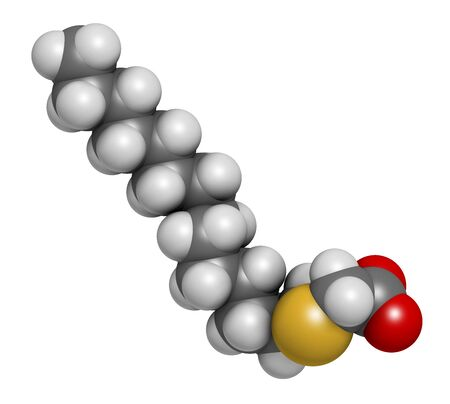 Tetradecylthioacetic acid (TTA) synthetic fatty acid molecule. 3D rendering. Atoms are represented as spheres with conventional color coding: hydrogen (white), carbon (grey), oxygen (red), sulfur (yellow). Reklamní fotografie