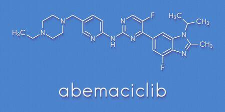 Abemaciclib cancer drug molecule (CDK inhibitor). Skeletal formula.