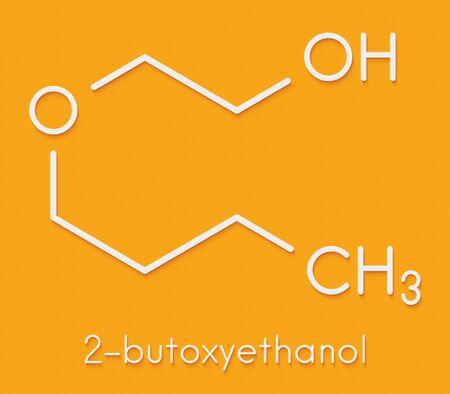2-butoxyethanol molecule. Used as solvent and surfactant. Skeletal formula.