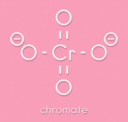 Chromate anion, chemical structure. Skeletal formula. Фото со стока