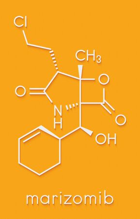 Marizomib (salinosporamide A) cancer drug molecule (proteasome inhibitor). Skeletal formula. Banque d'images