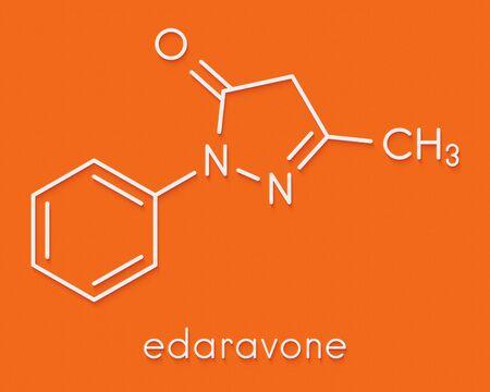 Edaravone drug molecule. Skeletal formula.
