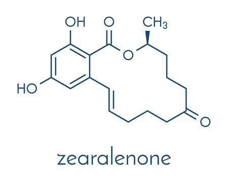 Zearalenone (ZEN) mycotoxin molecule. Produced by some Fusarium and Gibberella species. Skeletal formula.