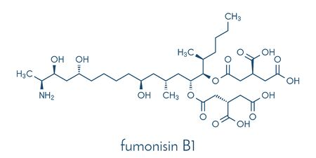 Fumonisin B1 mycotoxin molecule. Fungal toxin produced by some Fusarium molds, often present in corn and other cereals. Skeletal formula.