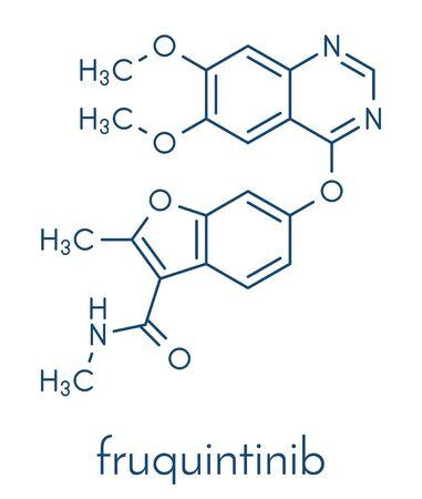 Fruquintinib cancer drug molecule. Skeletal formula.