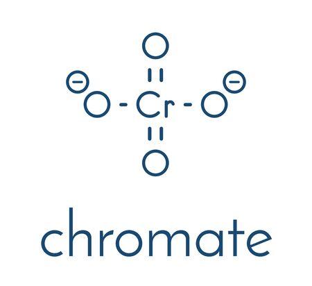 Chromate anion, chemical structure. Skeletal formula. Векторная Иллюстрация
